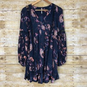 Free People Navy The Two Of Us Paisley Print Tunic